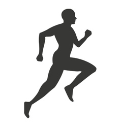 silhouette athlete running isolated icon vector image