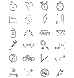 black fitness icons set vector image