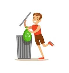 Boy Throwing Away Recycling Waste In Bin Bag vector image vector image