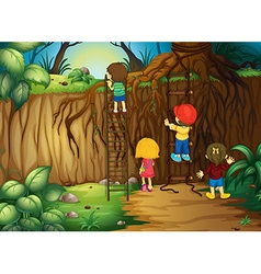 Children climbing up the ladder in the woods vector image