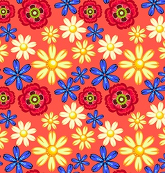 cornflower camomile and poppy seamless pattern vector image