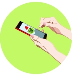 hand with phone order in the online store vector image