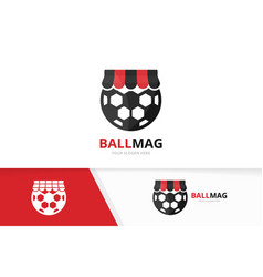 soccer and shop logo combination ball and vector image