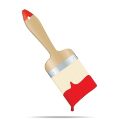 Brush with red paint vector image vector image