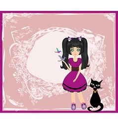 emo girl and her cat vector image