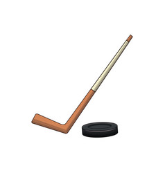 hockey stick and puck sport vector image vector image