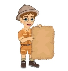 Kid boy with glasses holding blank adventure map vector