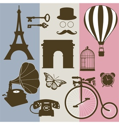 Set of design elements of the old France vector image
