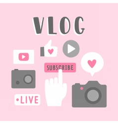 Vlog icons vector image vector image