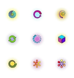 Download icons set pop-art style vector image vector image