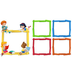 frame template with happpy children reading books vector image vector image