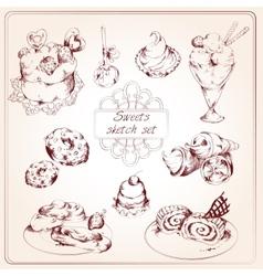 Sweets sketch set vector image