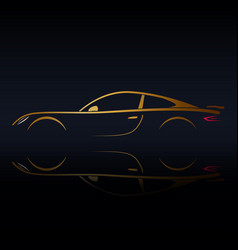 yellow sports vehicle silhouette vector image vector image