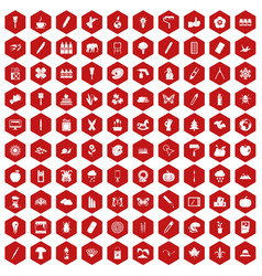 100 eco design icons hexagon red vector