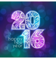 2016 inscription on blurred background with vector image