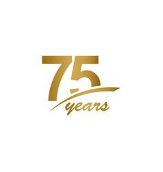 75 years anniversary elegant gold line vector