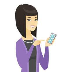 Asian business woman holding mobile phone vector