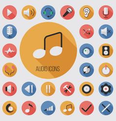audio flat digital icon set vector image