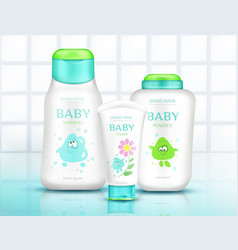 Bacosmetics bottles with kids design bathroom vector