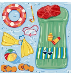 Beach accessories vector image