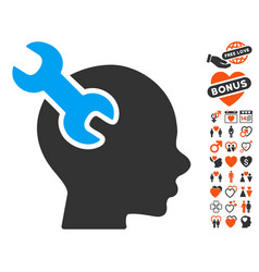 Brain service wrench icon with lovely bonus vector