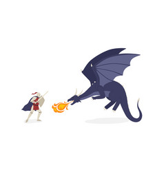 Brave knight fighting with dragon flat vector