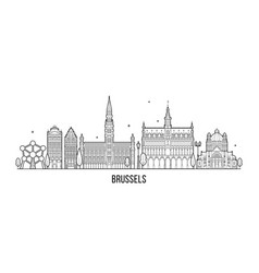 Brussel skyline belgium city buildings vector