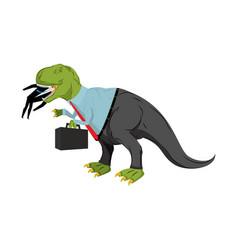Bsinessman dinosaur eats competitor dino boss vector