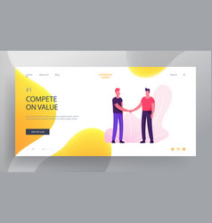 Business meeting website landing page young vector