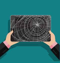 businessman holding broken tablet vector image