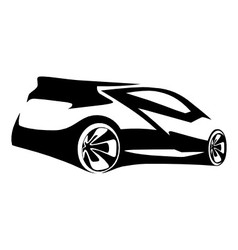 car sports silhouette vector image