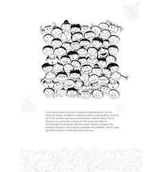 Card with crowd of peoples sketch for your design vector image vector image