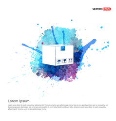 cardboard boxes icon - watercolor background vector image