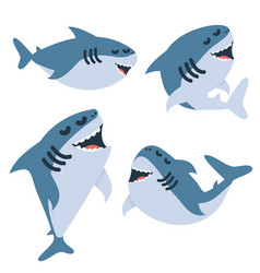 Cartoon sharks in different actions set vector