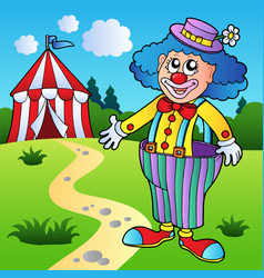 Clown in big pants with circus tent vector