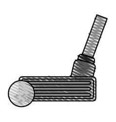 Color crayon stripe cartoon closeup golf club and vector