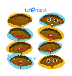 Cute african american baby boy emotions set vector