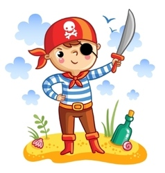 Cute cartoon pirate vector image