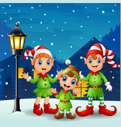cute little kid elves with snowfall falling at nig vector image