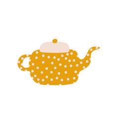 cute polka dot teapot with spout ceramic crockery vector image