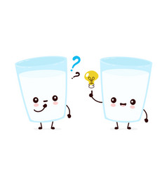 cute smiling happy milk glass with question mark vector image