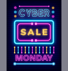 cyber sale on monday neon board with promotion vector image