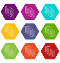 doors in western saloon icons set 9 vector image