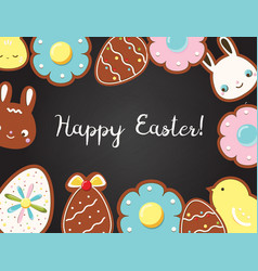 Easter background with cookies on black board top vector