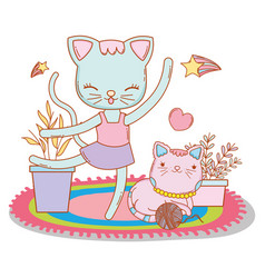 Female cat dancing with friend and heart vector