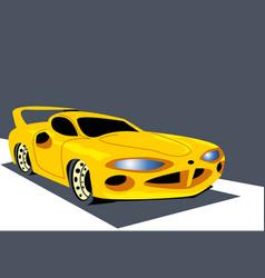 Fierce view a yellow sports car vector