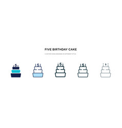 Five birthday cake icon in different style two vector