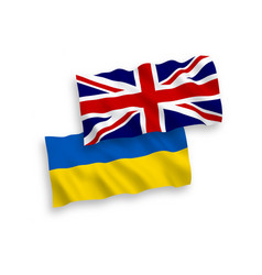 Flags ukraine and great britain on a white vector