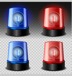 Flasher siren red and blue set realistic style vector