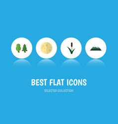 Flat icon natural set of cattail peak lunar and vector